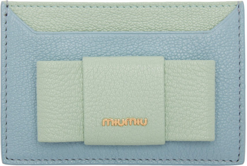 Miu Miu Blue and Green Bow Cardholder