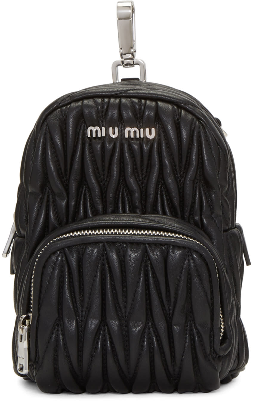 Miu Miu Black Leather Mini Matelassé Backpack