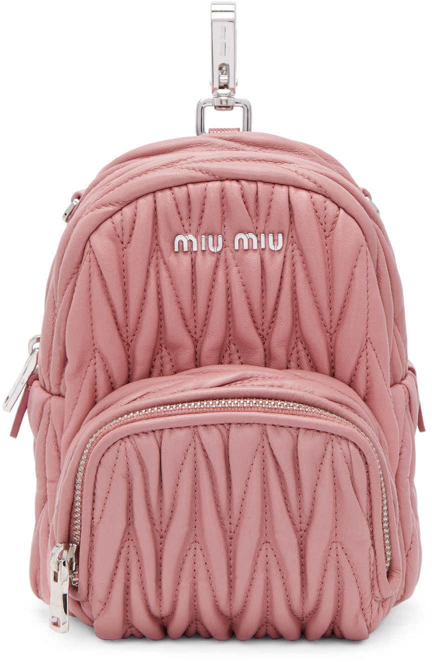 Miu Miu Pink Mini Matelasse Backpack