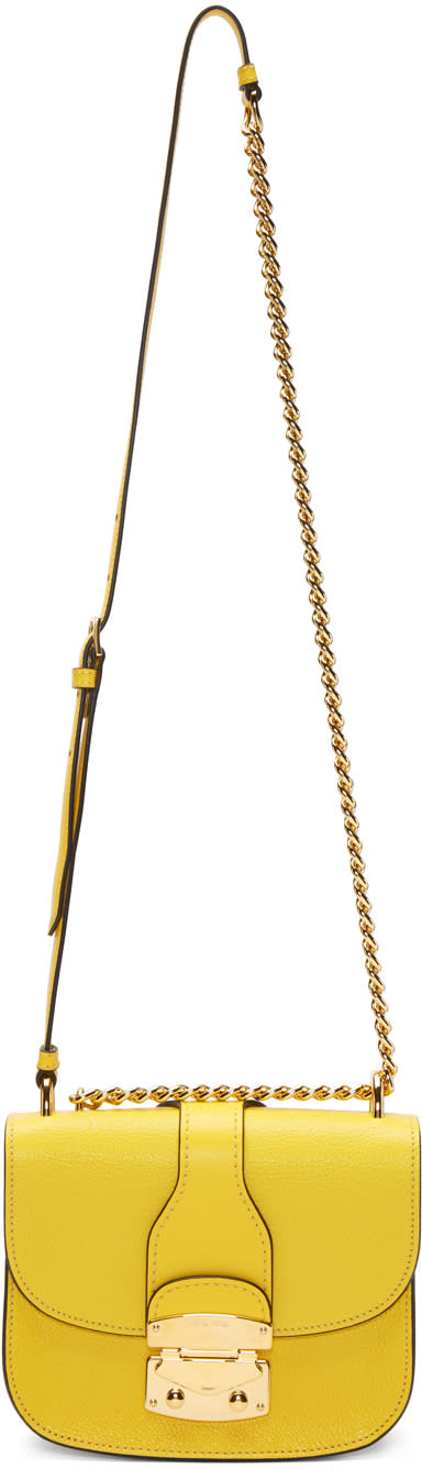 Miu Miu Yellow Classic Lock and Chain Bag