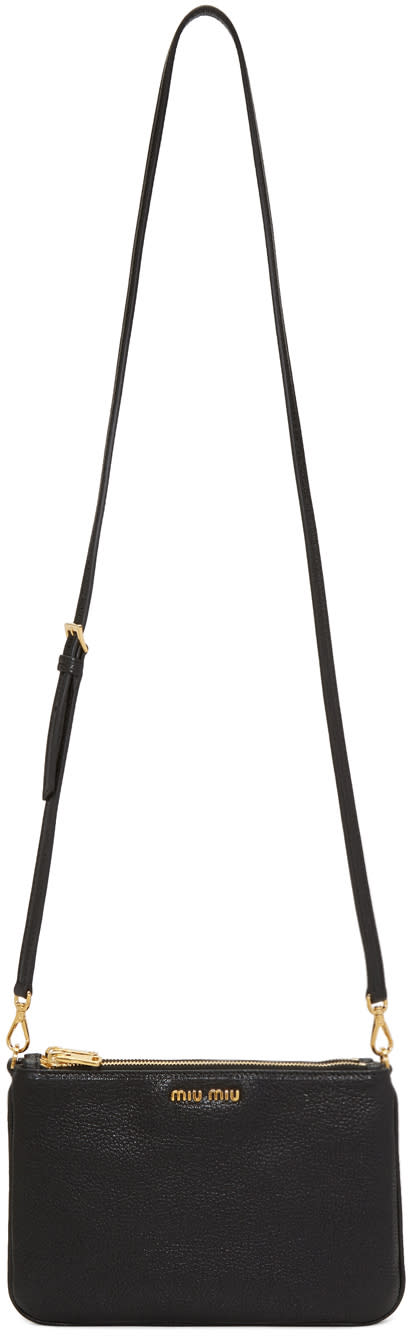 Miu Miu Black Double Zip Shoulder Bag