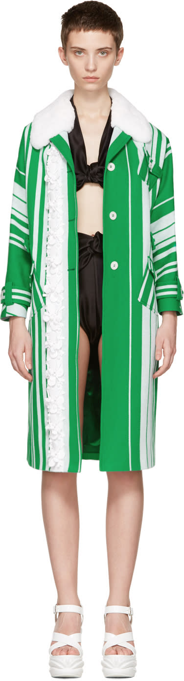 Miu Miu Green and White Embellished Floral Coat