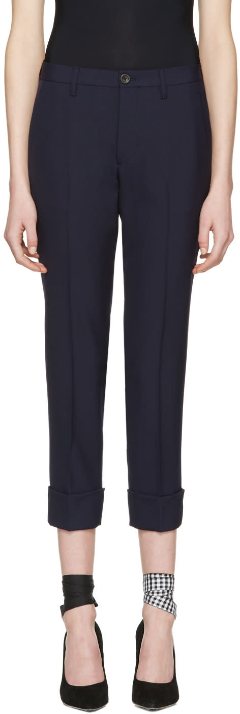 Miu Miu Navy Wool Trousers