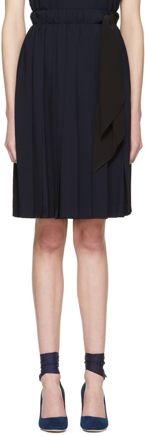 Miu Miu Navy Pleated Bow Skirt