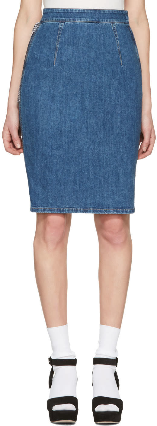 Miu Miu Blue Denim Pencil Skirt