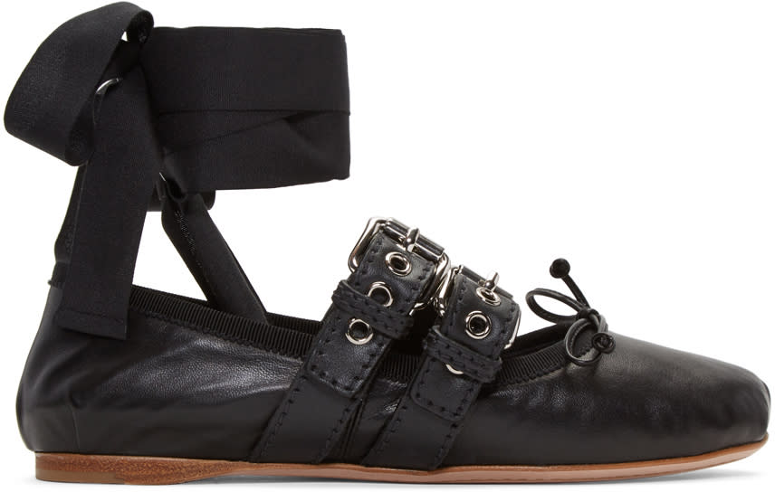 Miu Miu Black Double Buckle Ballerina Flats