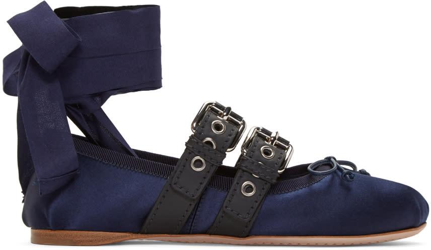 Miu Miu Navy Double Strap Ballerina Flats