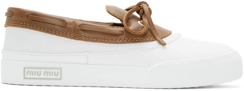 Miu Miu White and Brown Top Sider Loafers