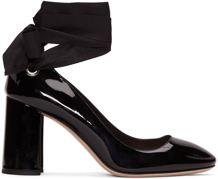 Miu Miu Black Grommet and Ribbon Heels