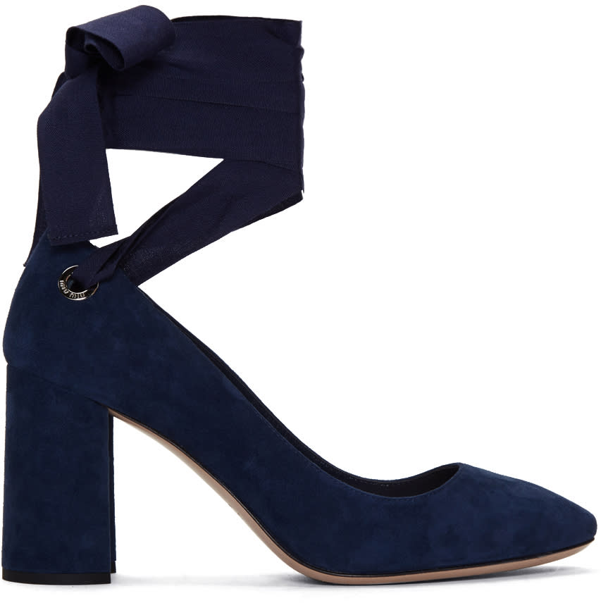 Miu Miu Navy Suede Grommet and Ribbon Heels