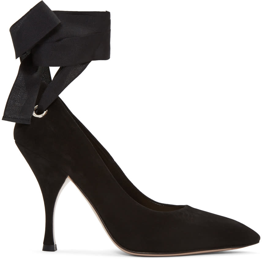 Miu Miu Black Suede Grommet and Ribbon Heels