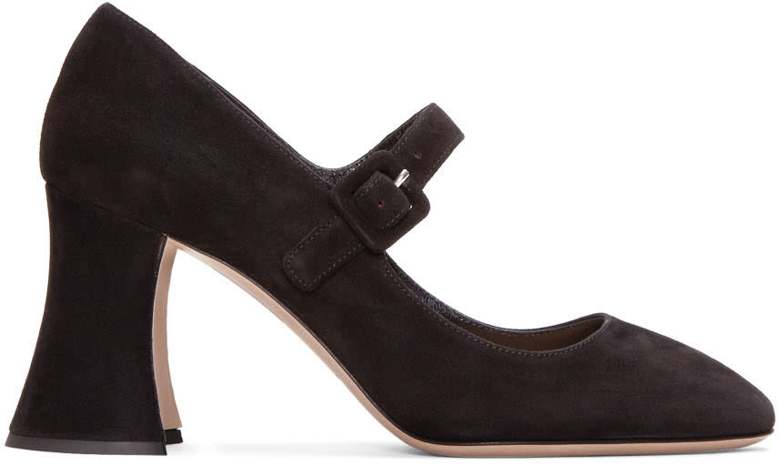 Miu Miu Black Suede Mary Jane Heels