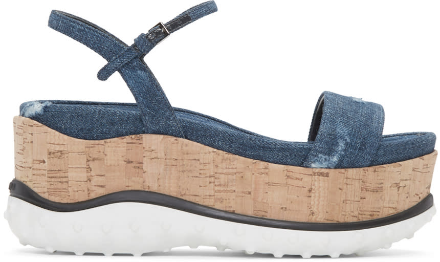 Miu Miu Indigo Denim Platform Sandals