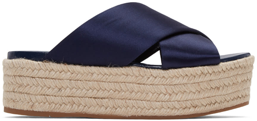 Miu Miu Ssense Exclusive Navy Satin Beach Sandals