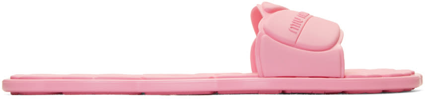 Miu Miu Pink Rubber Pool Slide Sandals