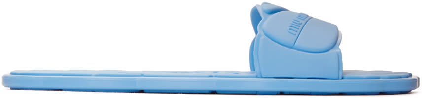 Miu Miu Blue Rubber Pool Slide Sandals