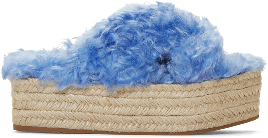 Miu Miu Blue Eco Fur Cross Sandals