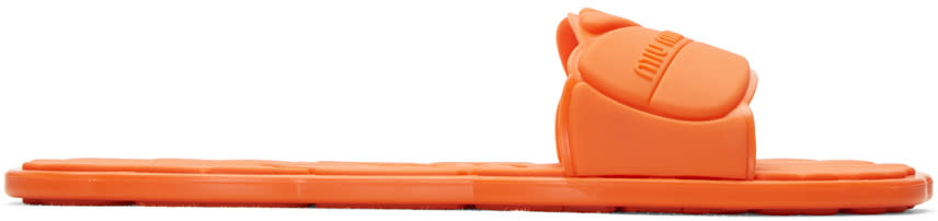 Miu Miu Orange Rubber Pool Slide Sandals