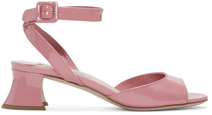 Miu Miu Pink Patent Leather Heeled Sandals