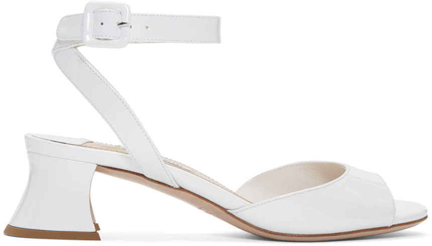 Miu Miu White Patent Leather Heeled Sandals