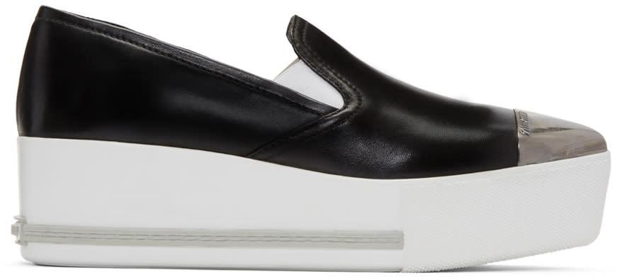 Miu Miu Black Platform Slip-on Sneakers