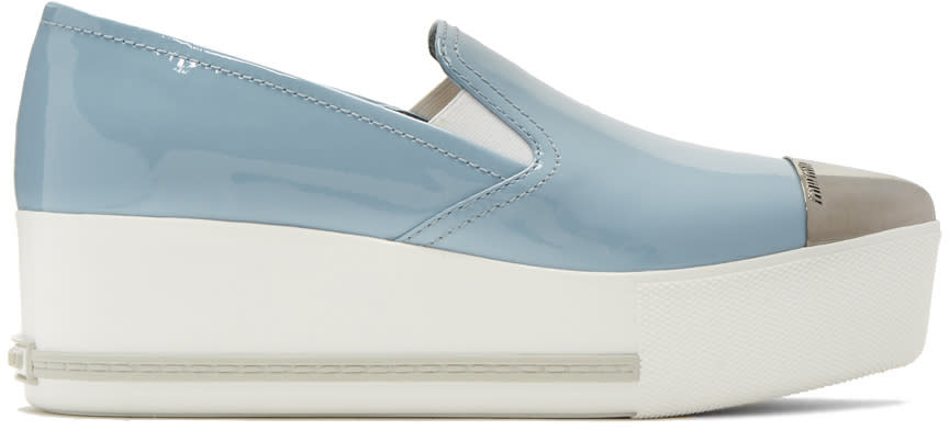 Miu Miu Blue Platform Slip-on Sneakers