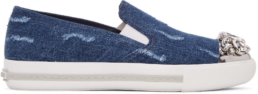 Miu Miu Blue Denim and Crystal Slip-on Sneakers