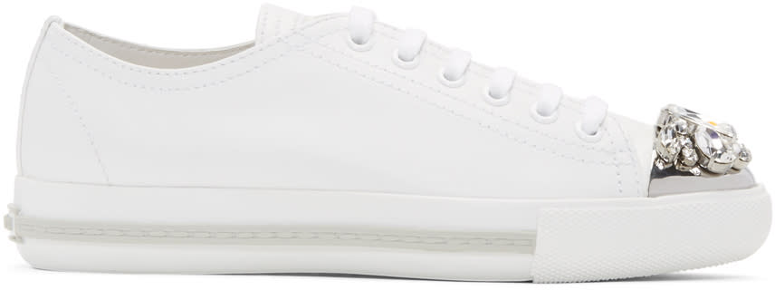 Miu Miu Off-white Crystal Toe Sneakers