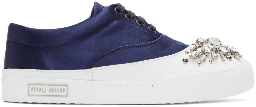 Miu Miu Ssense Exclusive Navy Satin and Crystal Sneakers
