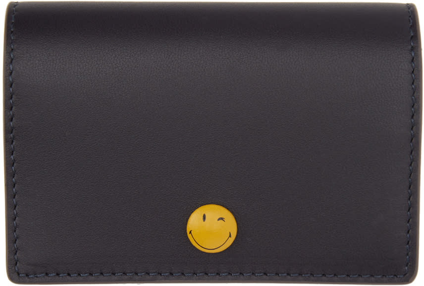 Anya Hindmarch Navy Wink Popper Folded Card Holder