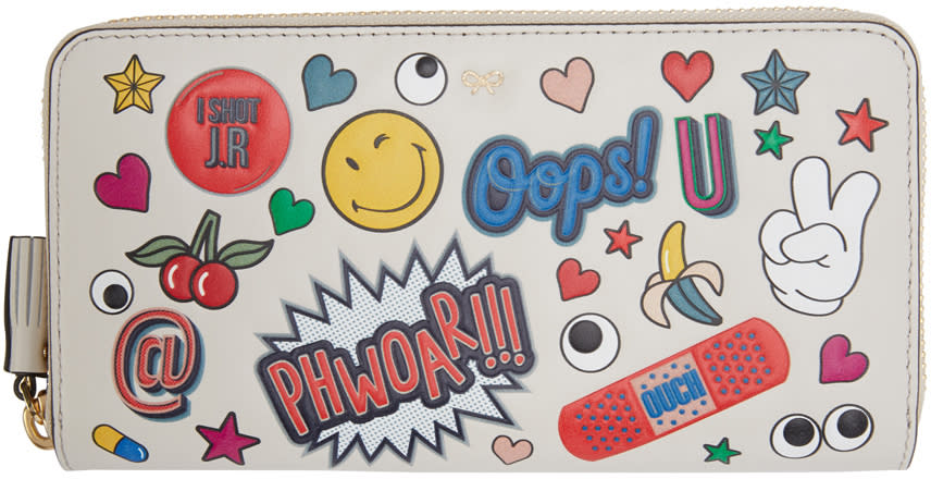 Anya Hindmarch Ivory Large Wink Stickers Wallet