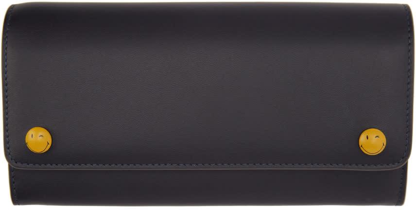 Anya Hindmarch Navy Wink Popper Continental Wallet