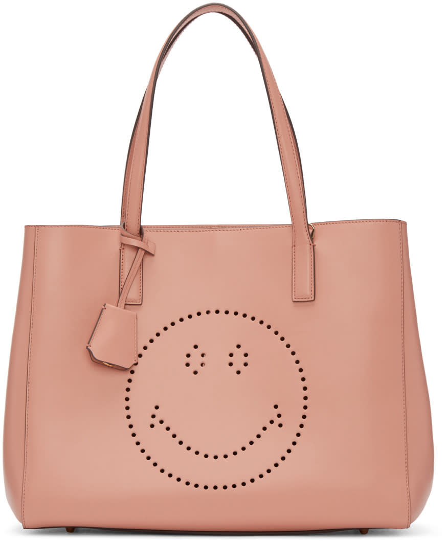 Anya Hindmarch Pink Ebury Smiley Shopper Tote