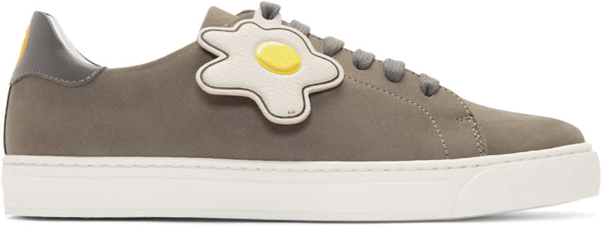 Anya Hindmarch Grey Wink and Egg Tennis Sneakers