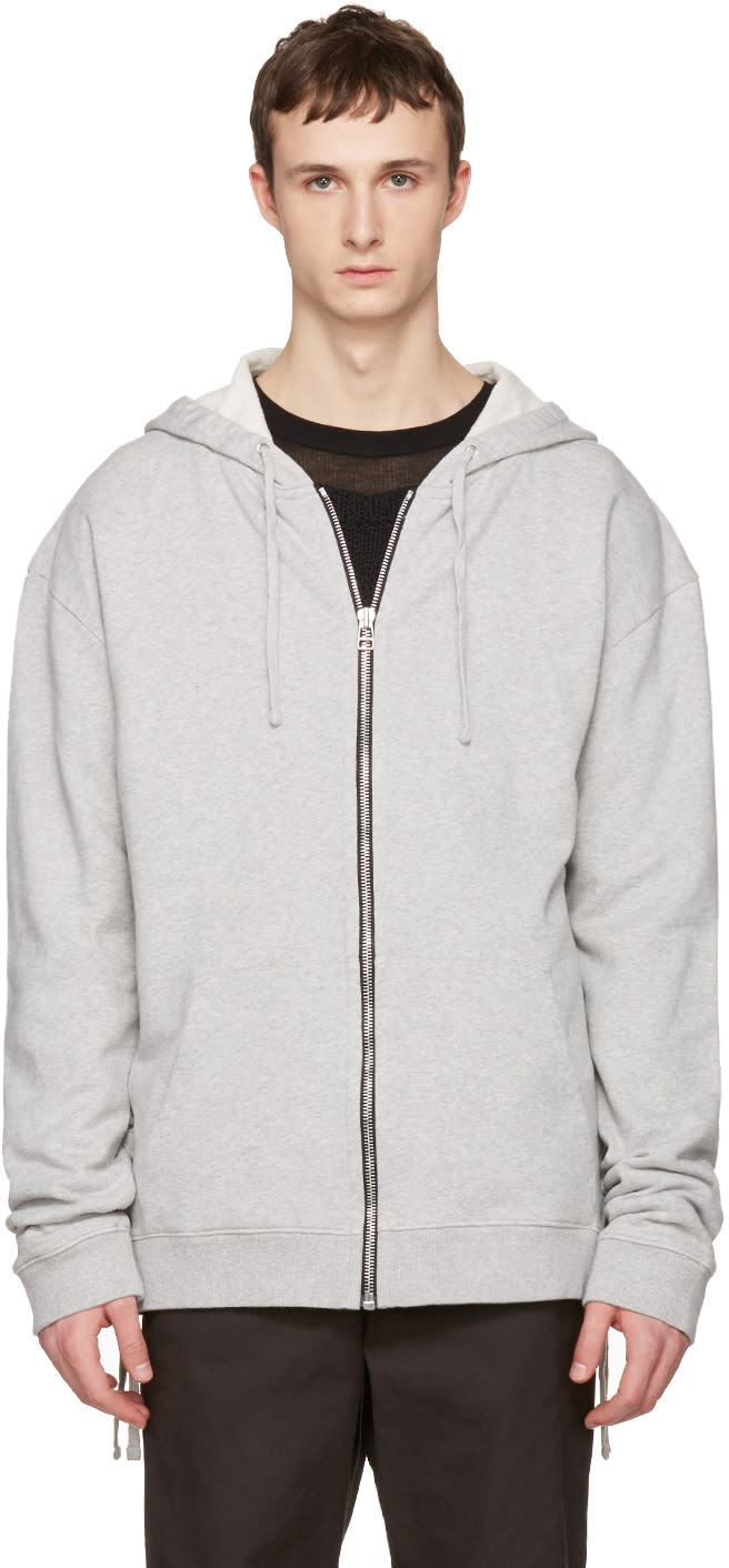 Faith Connexion Grey Laced Zip-up Hoodie