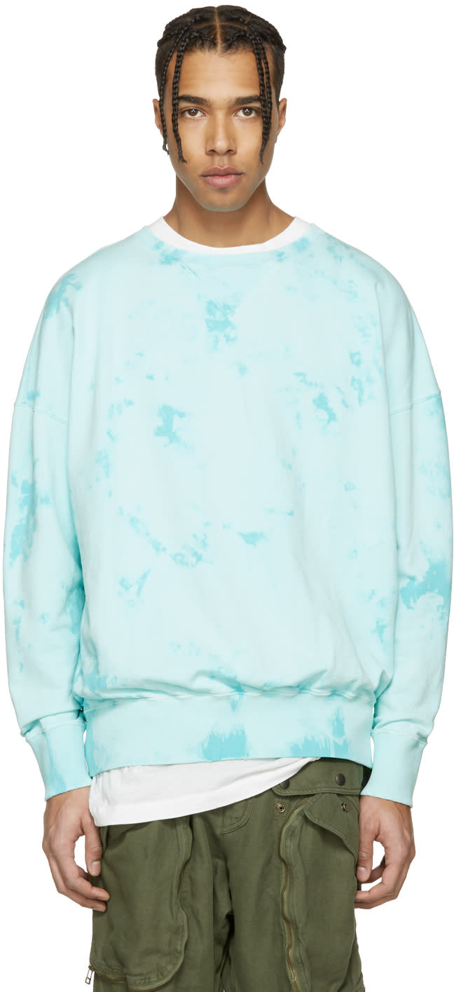 Faith Connexion Blue Distressed Tie-dye Pullover