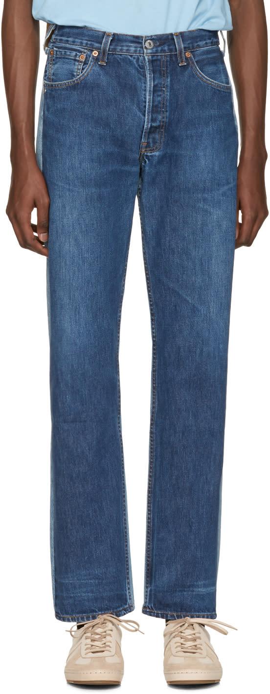 Image of Bless Blue Colorblock Pleatfront Jeans