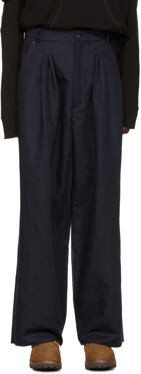 Bless Navy Ultra-wide Pleated Trousers