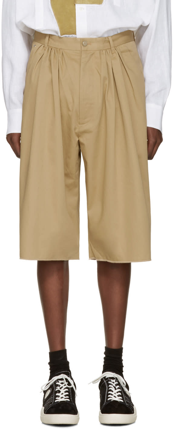 Bless Beige Pleated Bermuda Shorts