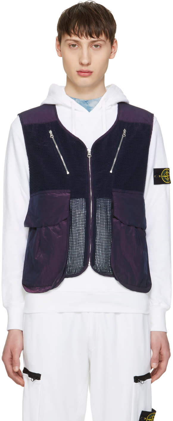 Image of Stone Island Shadow Project Blue Zip-up Vest