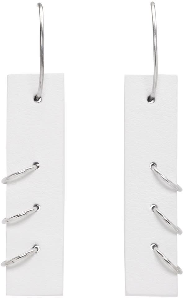 Ribeyron White Medium Pierced Earrings