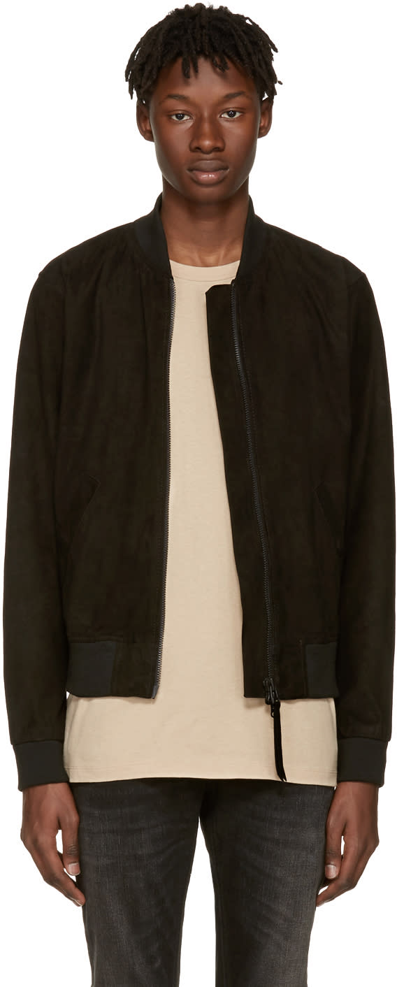 Image of Tiger Of Sweden Jeans Black Suede Burn Bomber Jacket