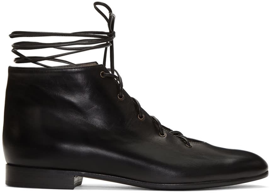 Alumnae Black Garconne Lace-up Boots