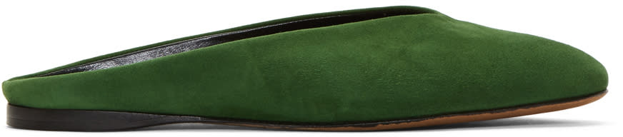 Alumnae Green Suede Almond Mules