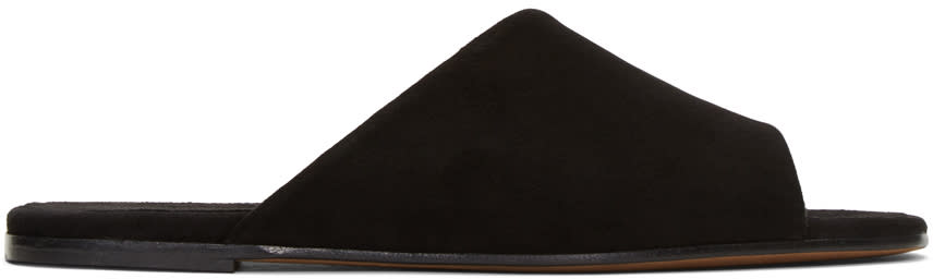 Image of Alumnae Black Asymmetric Suede Sandals