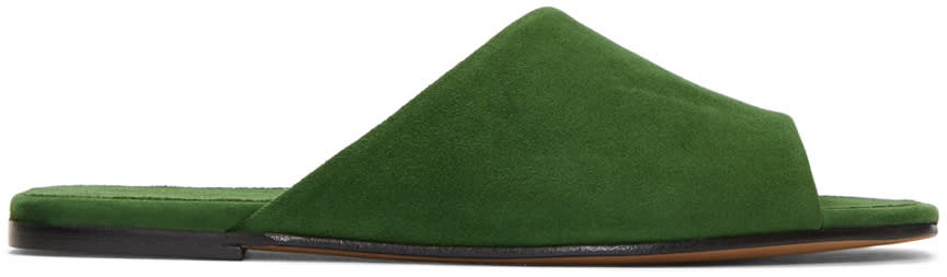 Image of Alumnae Green Asymmetric Suede Sandals