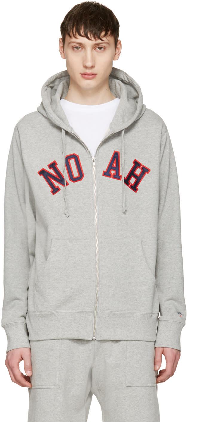 Noah Nyc Grey Logo Zip Hoodie