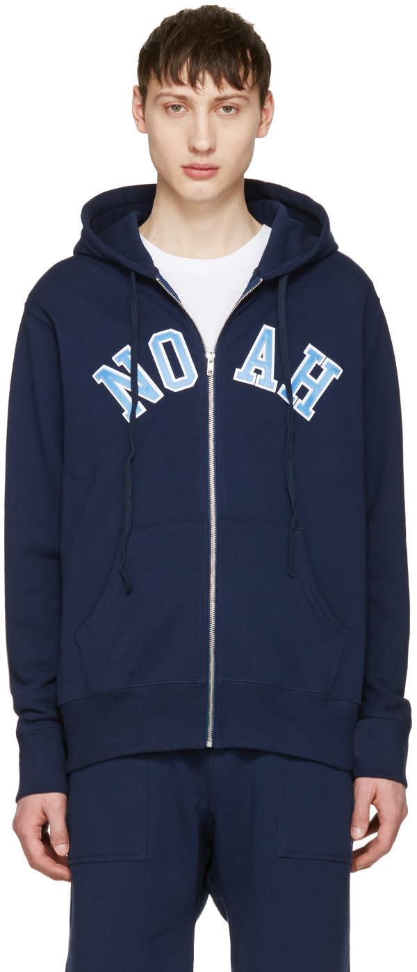 Noah Nyc Navy Logo Zip Hoodie