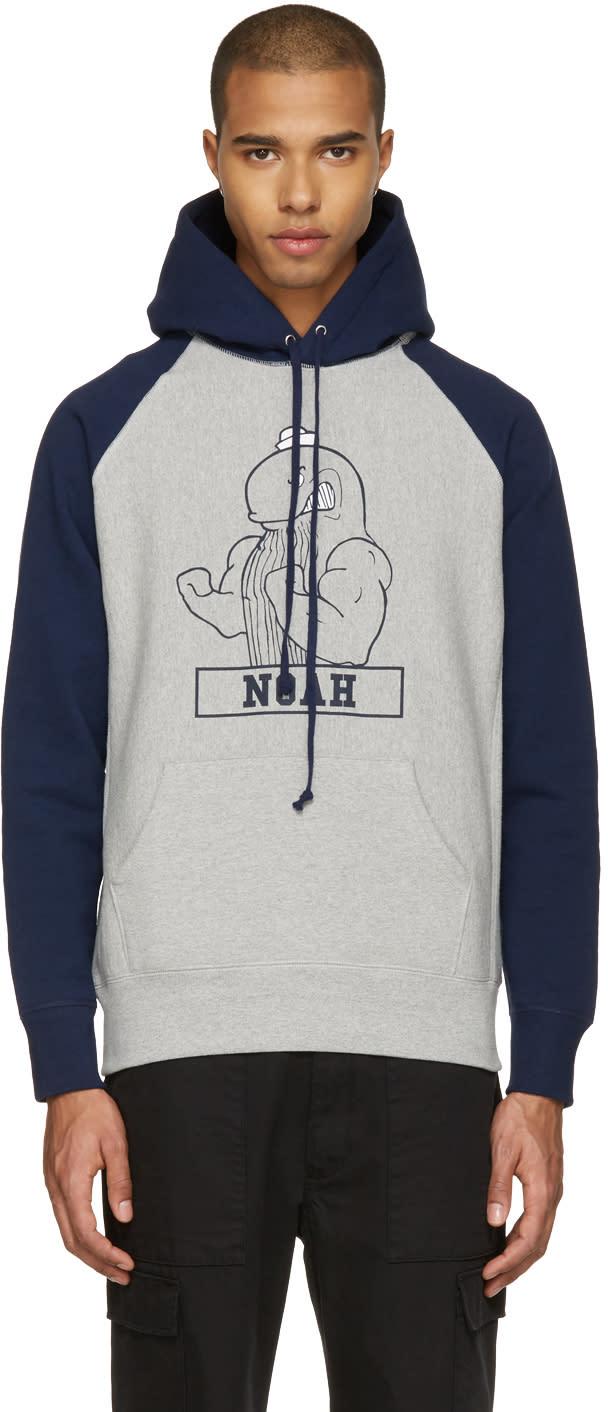 Noah Nyc Grey Fighting Whale Hoodie