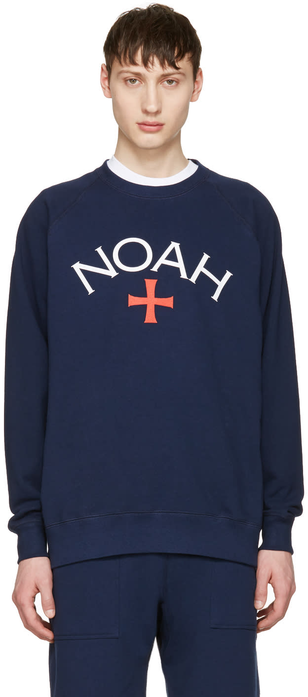 Noah Nyc Navy Logo Pullover